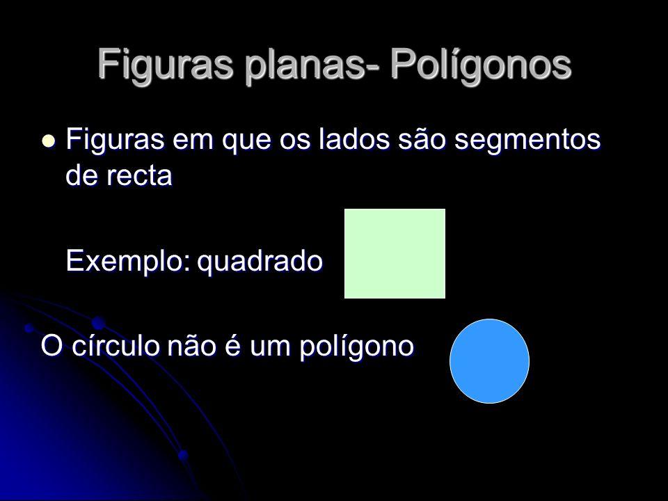 Figuras planas- Polígonos Figuras em que os lados são segmentos de recta Figuras em que os lados são segmentos de recta Exemplo: quadrado O círculo nã