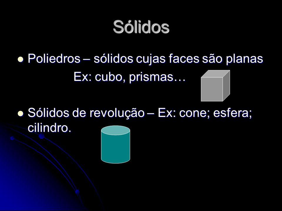 Sólidos Poliedros – sólidos cujas faces são planas Poliedros – sólidos cujas faces são planas Ex: cubo, prismas… Sólidos de revolução – Ex: cone; esfe
