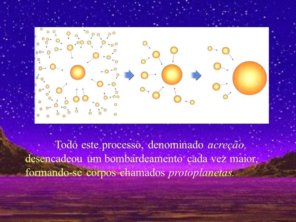 Todo este processo, denominado acreção, desencadeou um bombardeamento cada vez maior, formando-se corpos chamados protoplanetas.