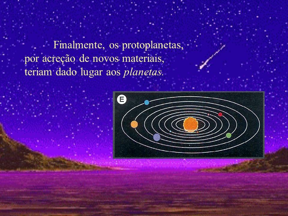 Finalmente, os protoplanetas, por acreção de novos materiais, teriam dado lugar aos planetas.