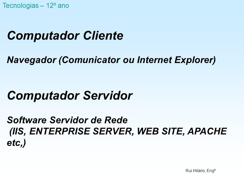 Rui Hilário, Engº Tecnologias – 12º ano Computador Cliente Navegador (Comunicator ou Internet Explorer) Computador Servidor Software Servidor de Rede