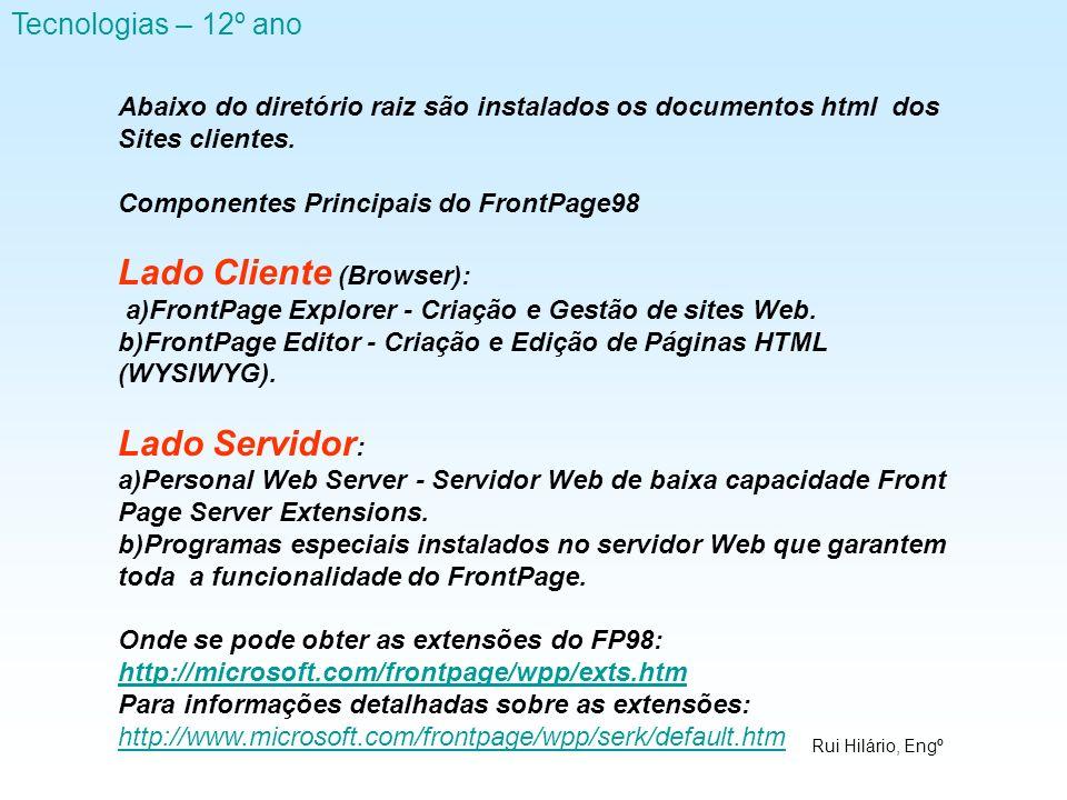 Rui Hilário, Engº Tecnologias – 12º ano Abaixo do diretório raiz são instalados os documentos html dos Sites clientes. Componentes Principais do Front