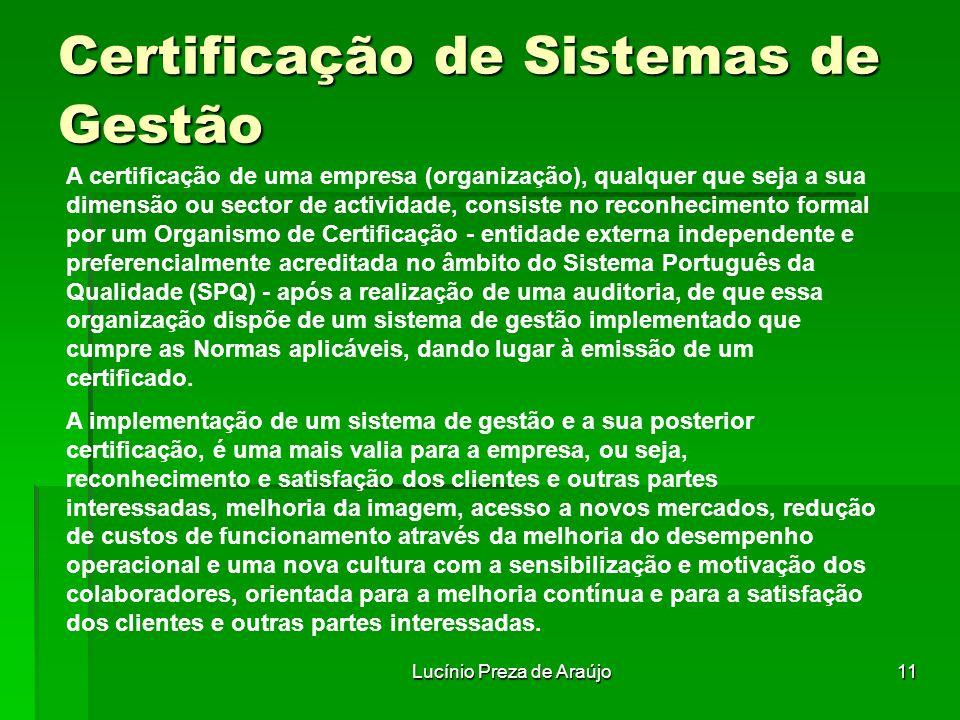 Lucínio Preza de Araújo11 Certificação de Sistemas de Gestão A certificação de uma empresa (organização), qualquer que seja a sua dimensão ou sector d