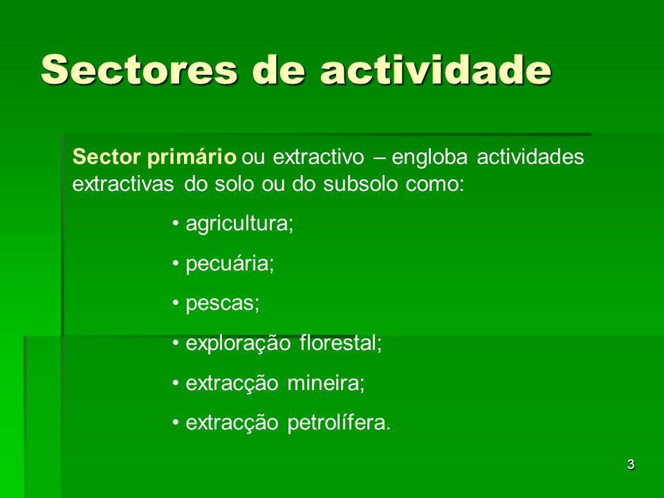 3 Sectores de actividade Sector primário ou extractivo – engloba actividades extractivas do solo ou do subsolo como: agricultura; pecuária; pescas; ex