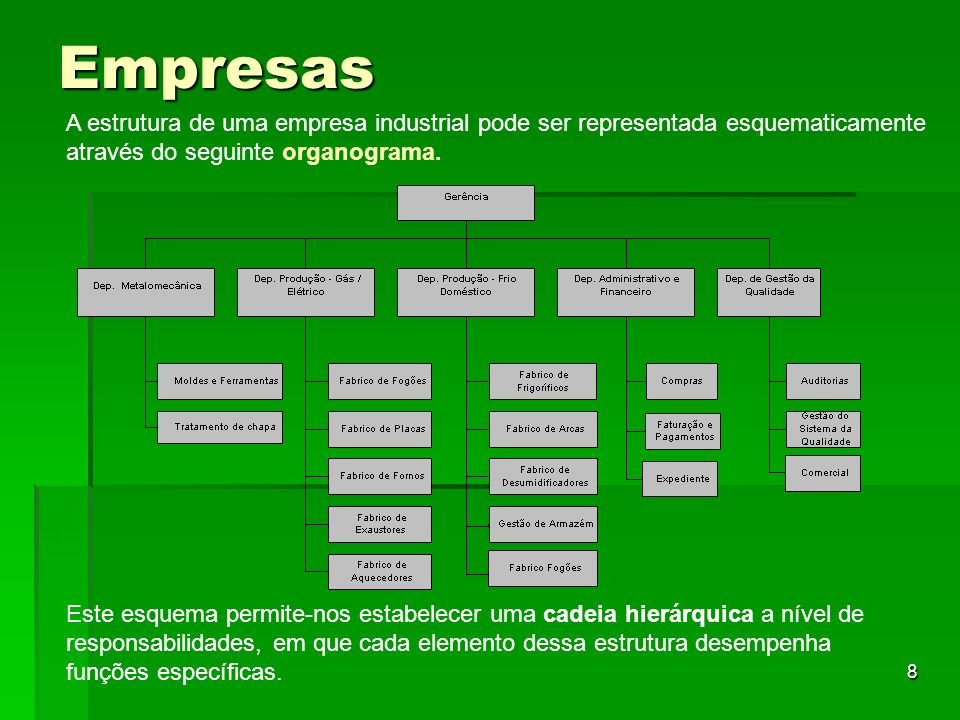 8 Empresas A estrutura de uma empresa industrial pode ser representada esquematicamente através do seguinte organograma. Este esquema permite-nos esta