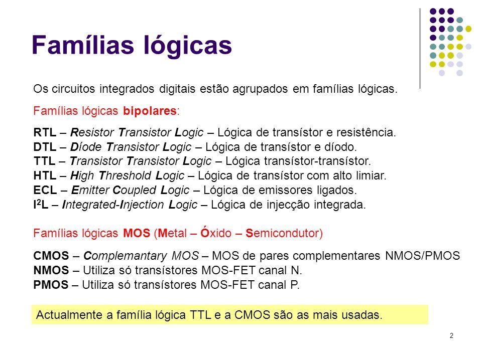 2 Famílias lógicas Os circuitos integrados digitais estão agrupados em famílias lógicas. Famílias lógicas bipolares: RTL – Resistor Transistor Logic –