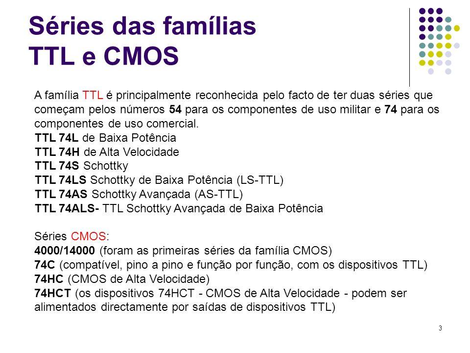 3 Séries das famílias TTL e CMOS A família TTL é principalmente reconhecida pelo facto de ter duas séries que começam pelos números 54 para os compone