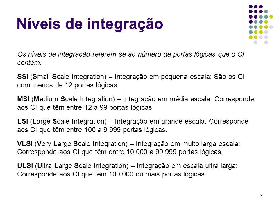 6 Níveis de integração Os níveis de integração referem-se ao número de portas lógicas que o CI contém. SSI (Small Scale Integration) – Integração em p