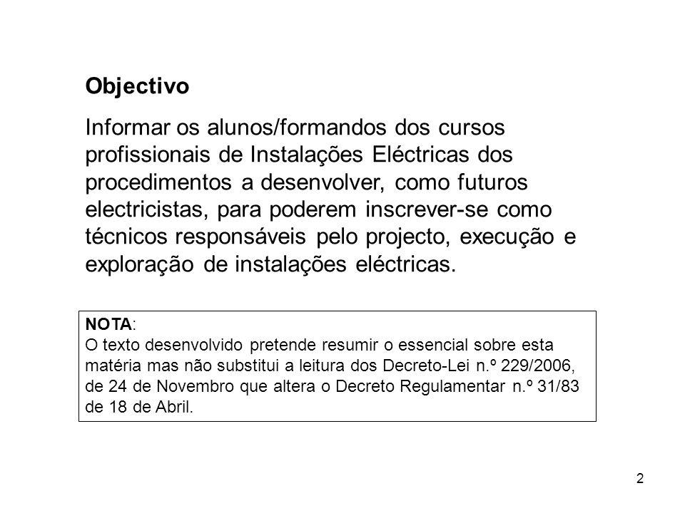2 Objectivo Informar os alunos/formandos dos cursos profissionais de Instalações Eléctricas dos procedimentos a desenvolver, como futuros electricista