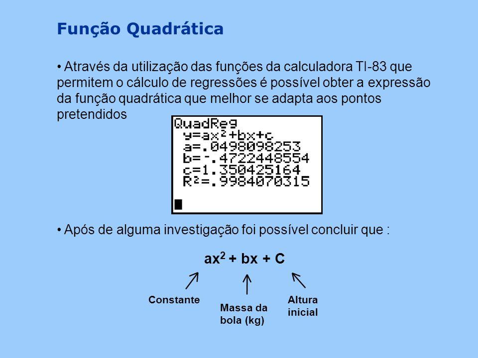 Hipóteses Exponencial y = ax 2 + bx + cy = a.b x Quadrática