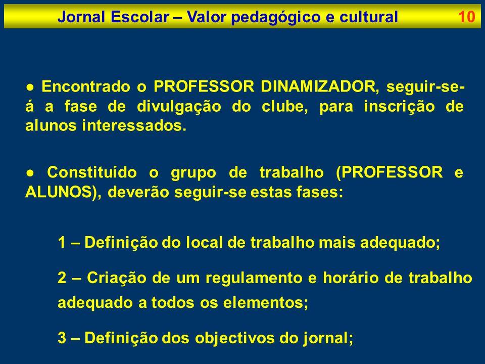 Jornal Escolar – Valor pedagógico e cultural10 Encontrado o PROFESSOR DINAMIZADOR, seguir-se- á a fase de divulgação do clube, para inscrição de aluno