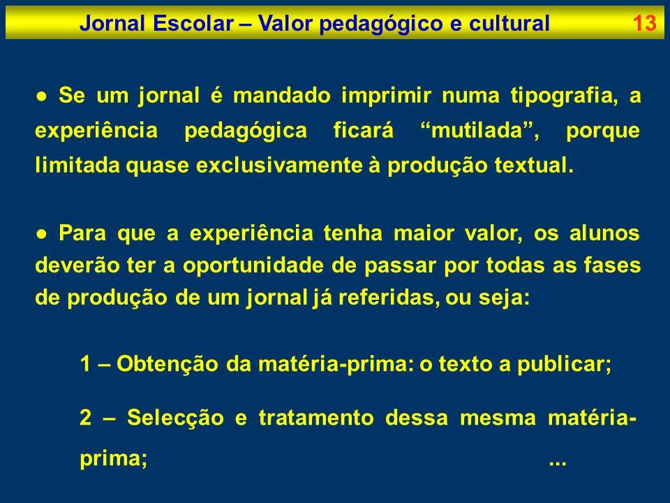 Jornal Escolar – Valor pedagógico e cultural13 Se um jornal é mandado imprimir numa tipografia, a experiência pedagógica ficará mutilada, porque limit