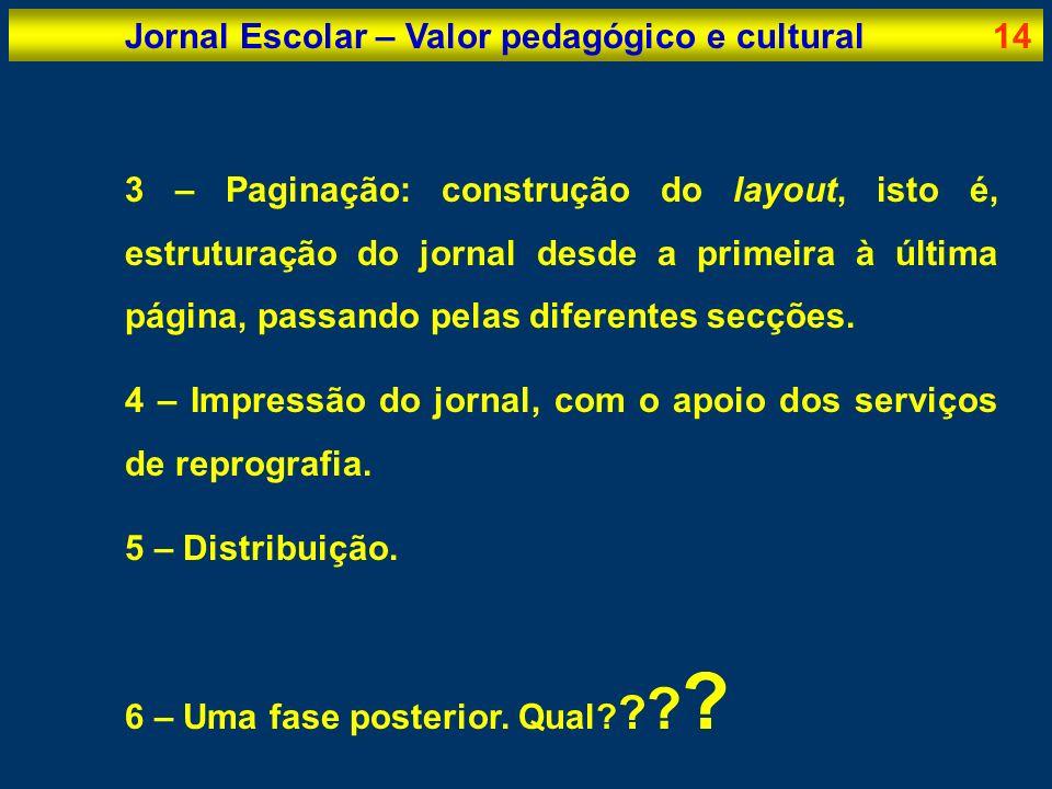 Jornal Escolar – Valor pedagógico e cultural14 3 – Paginação: construção do layout, isto é, estruturação do jornal desde a primeira à última página, p
