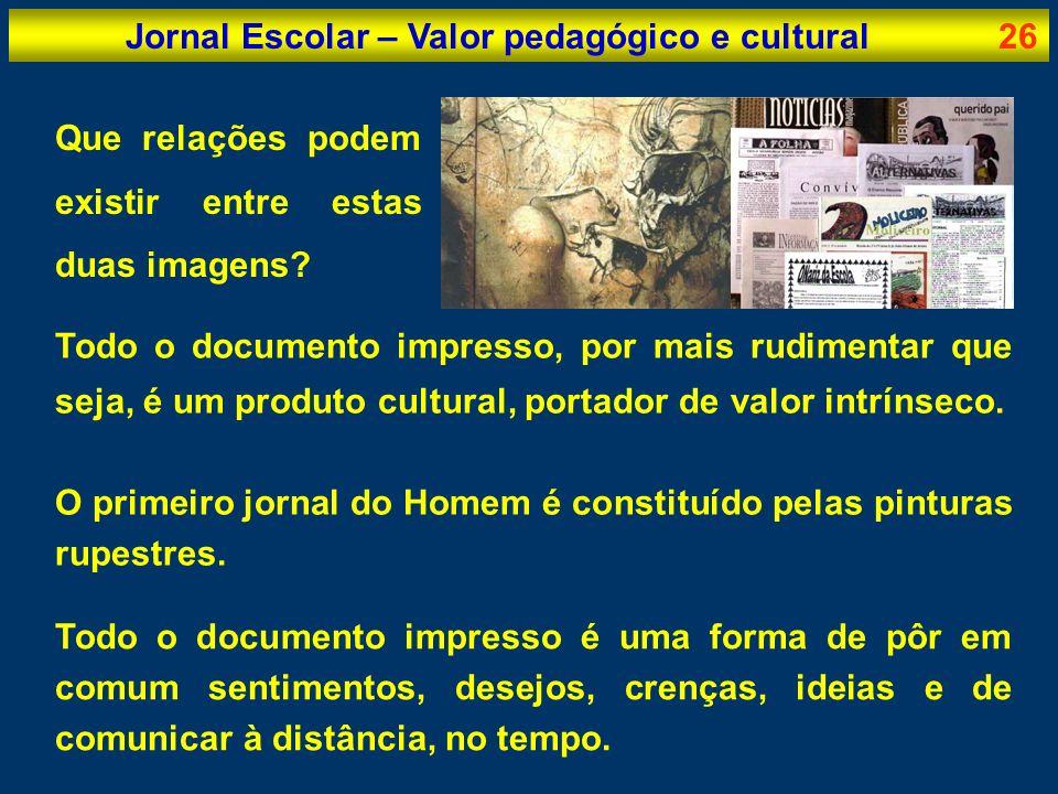 Jornal Escolar – Valor pedagógico e cultural26 Que relações podem existir entre estas duas imagens? Todo o documento impresso, por mais rudimentar que