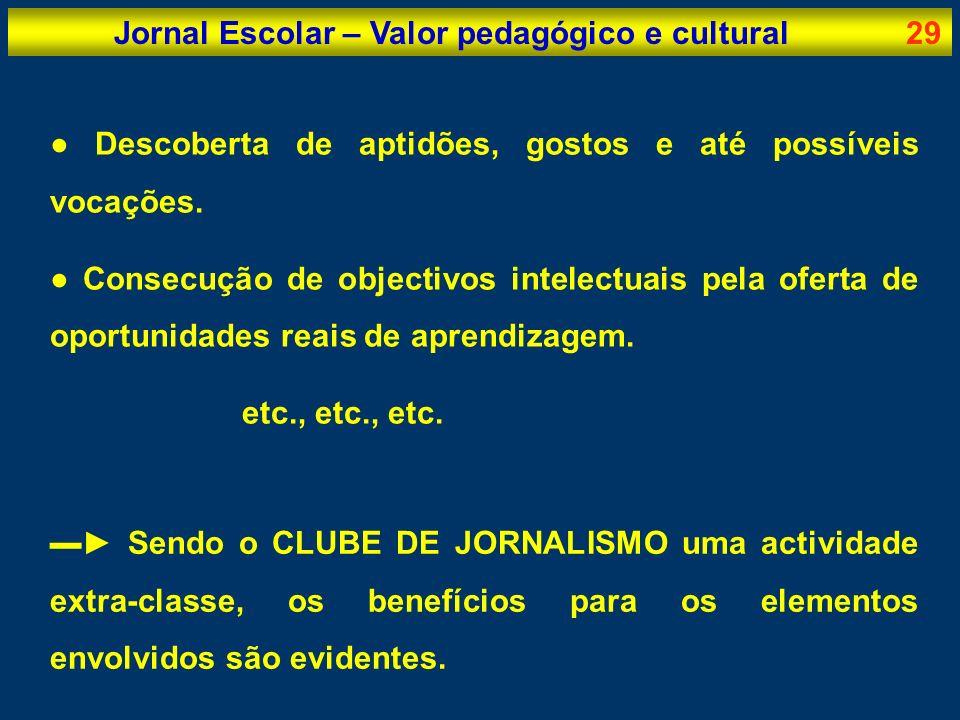 Jornal Escolar – Valor pedagógico e cultural29 Descoberta de aptidões, gostos e até possíveis vocações. Consecução de objectivos intelectuais pela ofe