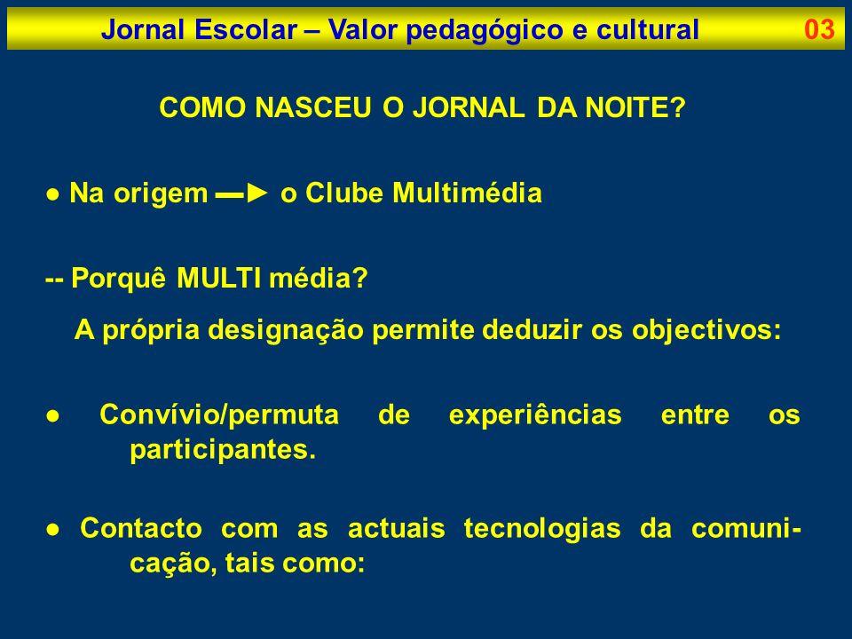 Jornal Escolar – Valor pedagógico e cultural04 TECNOLOGIAS DA IMAGEM DO SOM DOS MASS MEDIA DE BASE INFORMÁTICA IMAGEM: cinema; vídeo; fotografia; etc.