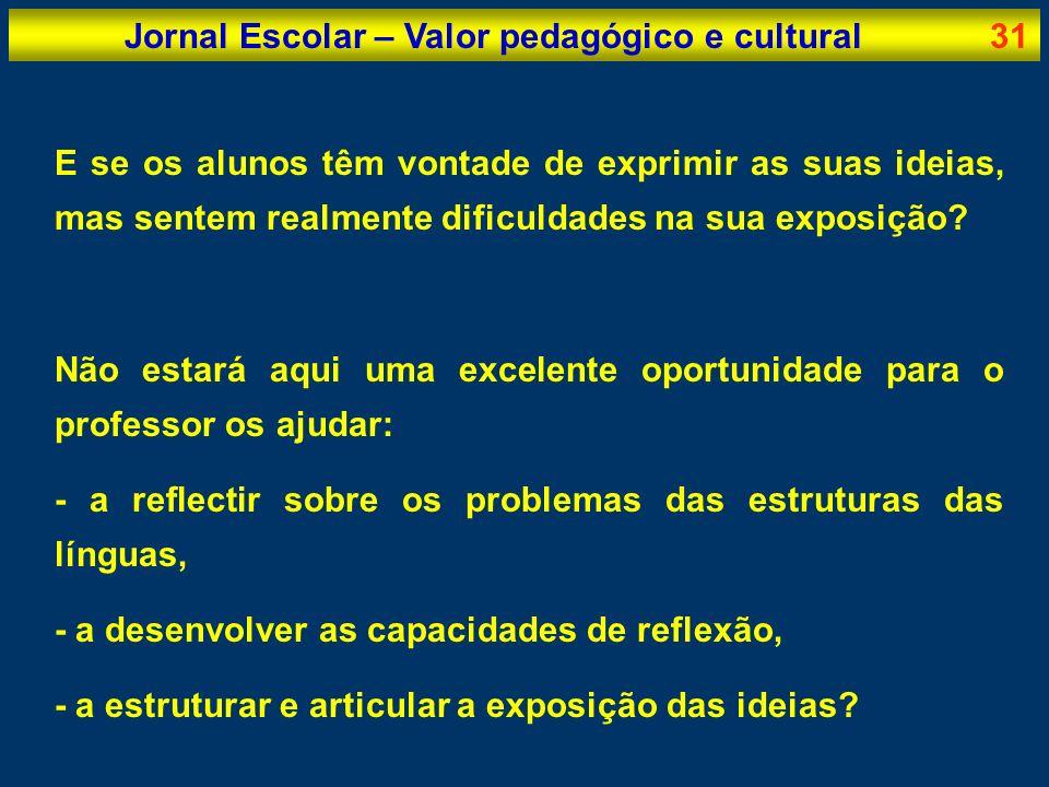 Jornal Escolar – Valor pedagógico e cultural31 E se os alunos têm vontade de exprimir as suas ideias, mas sentem realmente dificuldades na sua exposiç