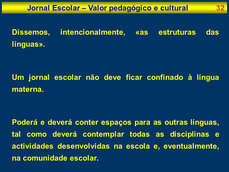 Jornal Escolar – Valor pedagógico e cultural32 Dissemos, intencionalmente, «as estruturas das línguas». Um jornal escolar não deve ficar confinado à l