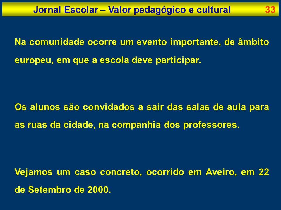 Jornal Escolar – Valor pedagógico e cultural33 Na comunidade ocorre um evento importante, de âmbito europeu, em que a escola deve participar. Os aluno