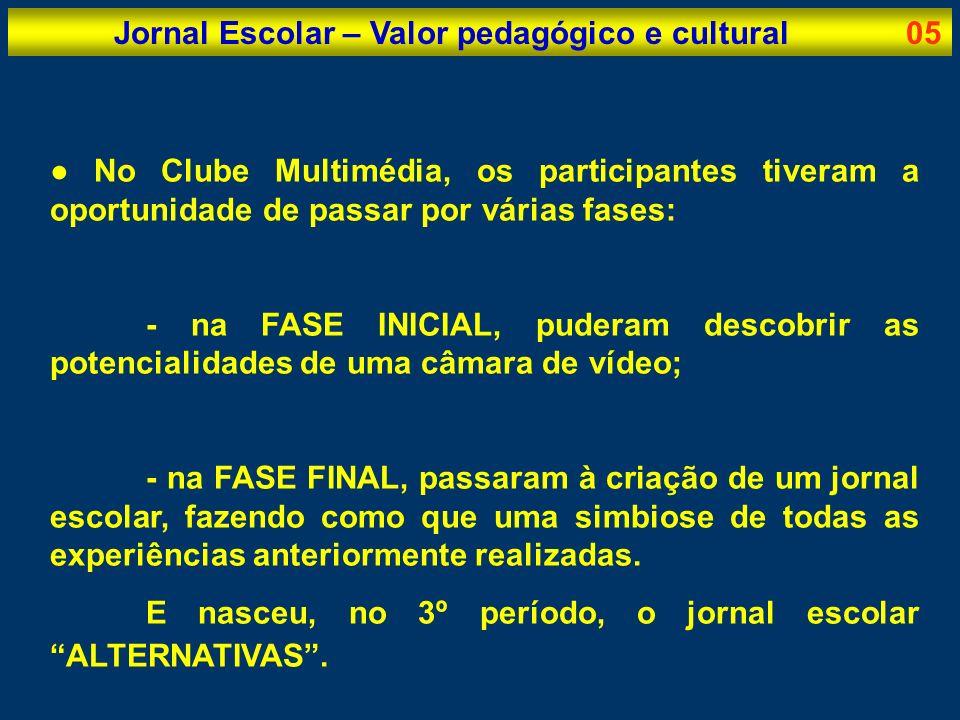 Jornal Escolar – Valor pedagógico e cultural05 No Clube Multimédia, os participantes tiveram a oportunidade de passar por várias fases: - na FASE INIC