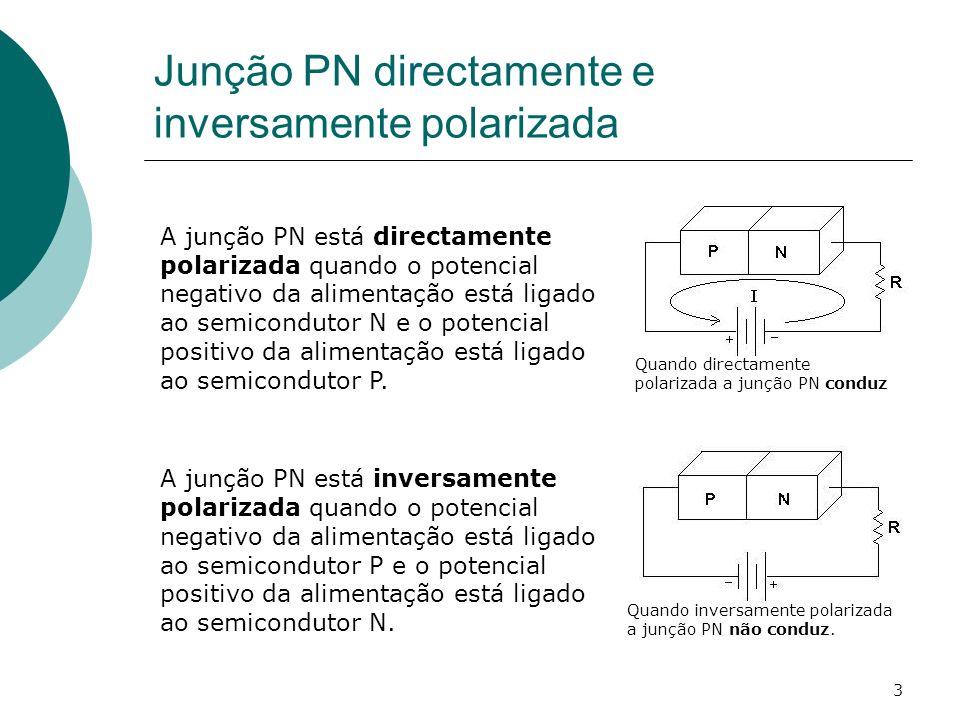 4 Principio de funcionamento Quando polarizada directamente a junção PN conduz porque na junção PN a zona neutra ou zona de deplecção (zona sem portadores de carga eléctrica) estreita a resistência eléctrica diminui e a corrente eléctrica passa.