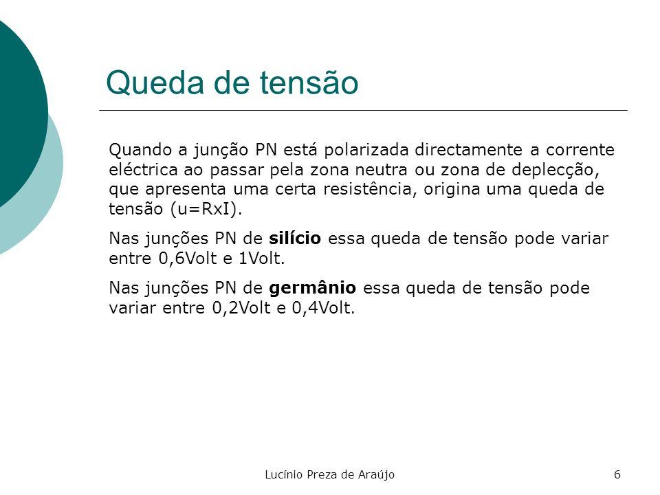 Lucínio Preza de Araújo6 Queda de tensão Quando a junção PN está polarizada directamente a corrente eléctrica ao passar pela zona neutra ou zona de de