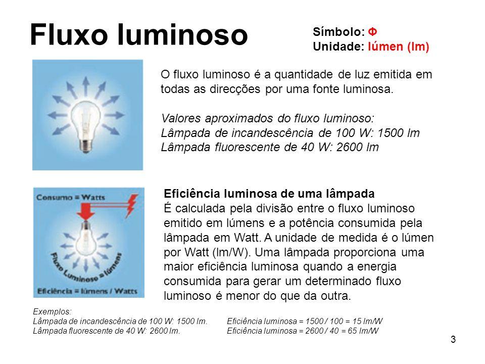 3 Fluxo luminoso Símbolo: Φ Unidade: lúmen (lm) O fluxo luminoso é a quantidade de luz emitida em todas as direcções por uma fonte luminosa. Valores a