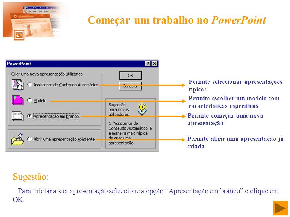 Começar um trabalho no PowerPoint Permite seleccionar apresentações típicas Permite escolher um modelo com características específicas Permite começar