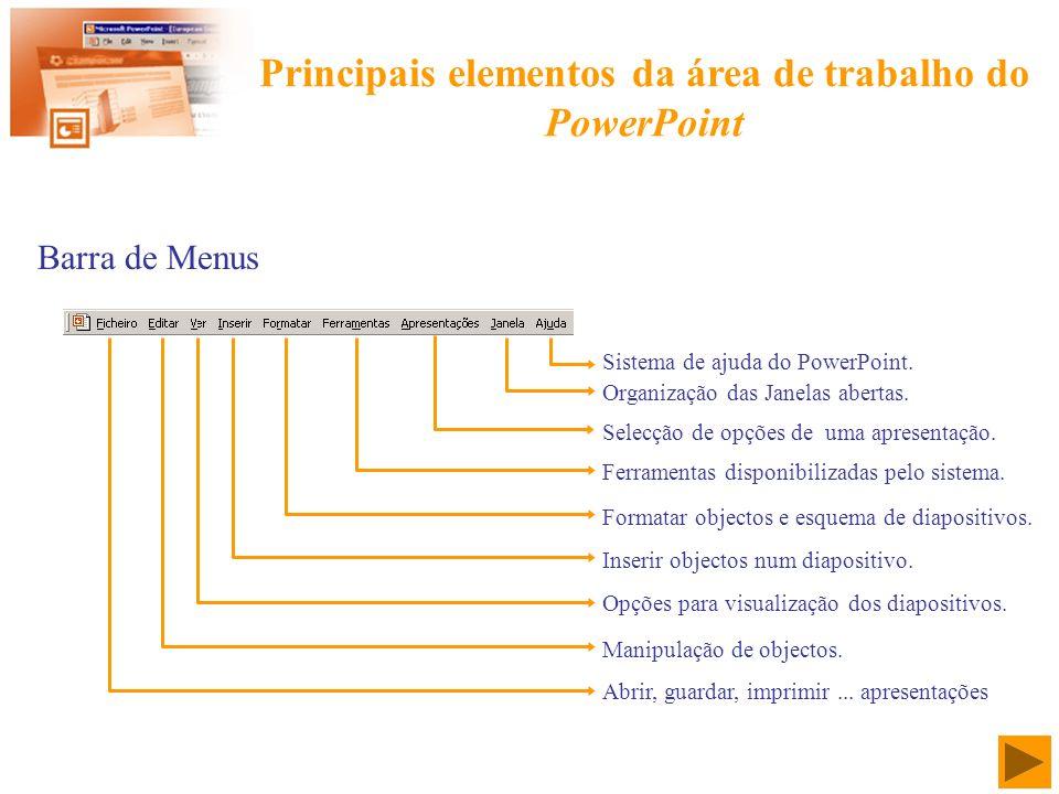 Principais elementos da área de trabalho do PowerPoint Barra de Menus Sistema de ajuda do PowerPoint. Organização das Janelas abertas. Selecção de opç