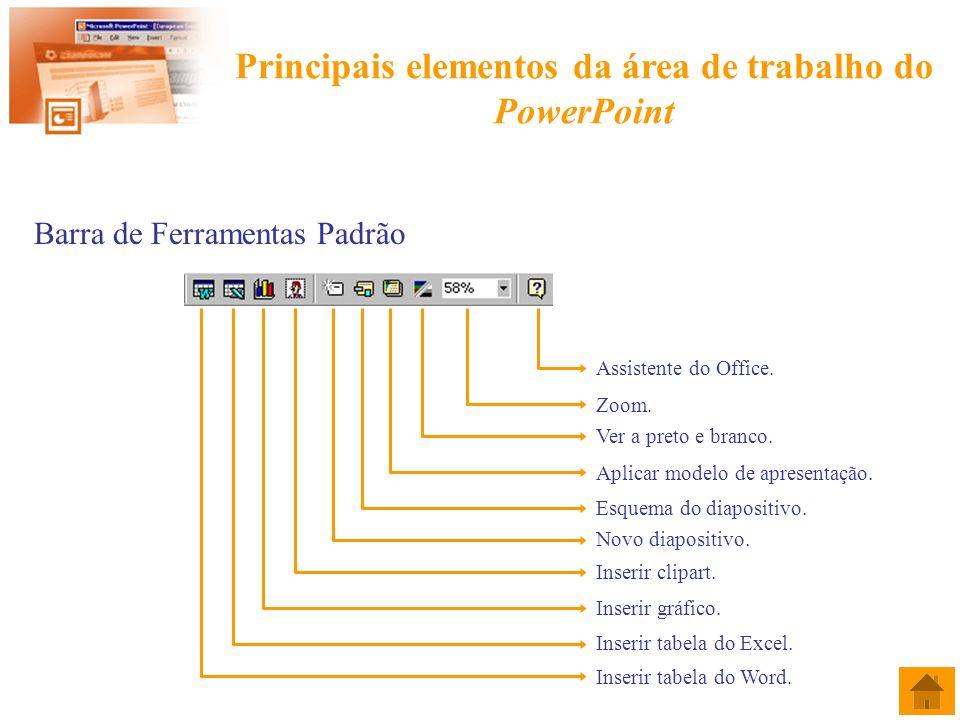 Criar um novo diapositivo e definir o seu esquema Barra de Menus Menu Inserir Comando Novo diapositivo ….