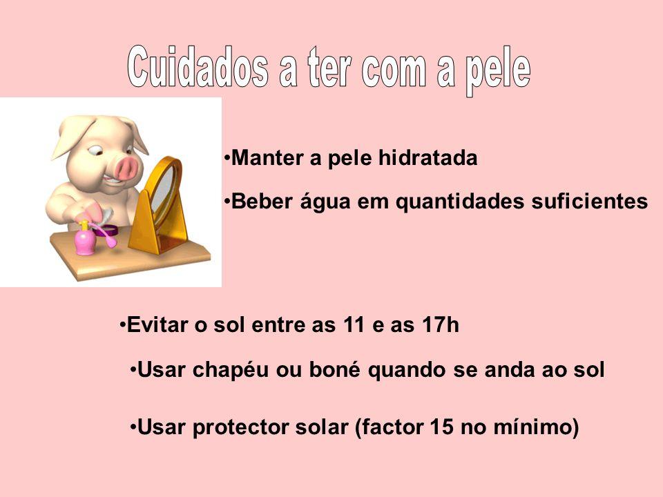 Manter a pele hidratada Beber água em quantidades suficientes Usar protector solar (factor 15 no mínimo) Evitar o sol entre as 11 e as 17h Usar chapéu