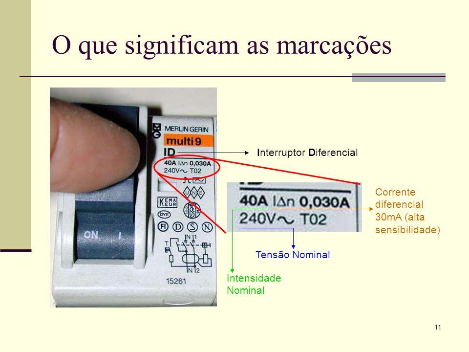 11 O que significam as marcações Interruptor Diferencial Tensão Nominal Intensidade Nominal Corrente diferencial 30mA (alta sensibilidade)