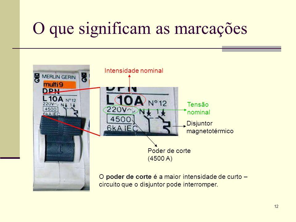 12 O que significam as marcações Intensidade nominal Tensão nominal Poder de corte (4500 A) O poder de corte é a maior intensidade de curto – circuito