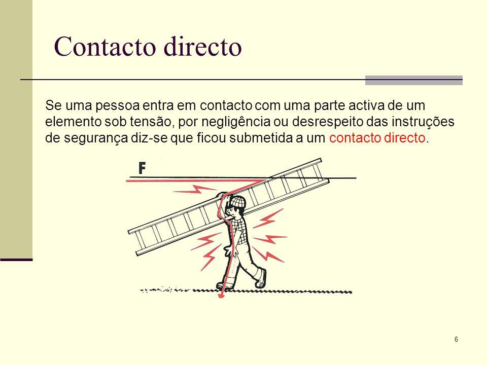 7 Contacto indirecto Se uma pessoa entra em contacto com um elemento que está acidentalmente sob tensão devido, por exemplo a um defeito de isolamento, a electrocussão é consequência de um defeito imprevisível e não da negligência da pessoa.