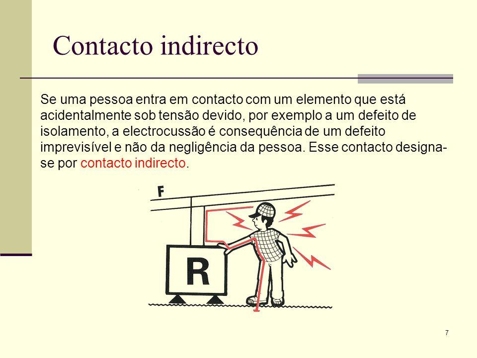7 Contacto indirecto Se uma pessoa entra em contacto com um elemento que está acidentalmente sob tensão devido, por exemplo a um defeito de isolamento