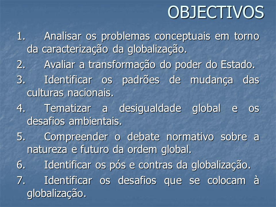 OBJECTIVOS 1. Analisar os problemas conceptuais em torno da caracterização da globalização. 2. Avaliar a transformação do poder do Estado. 3. Identifi