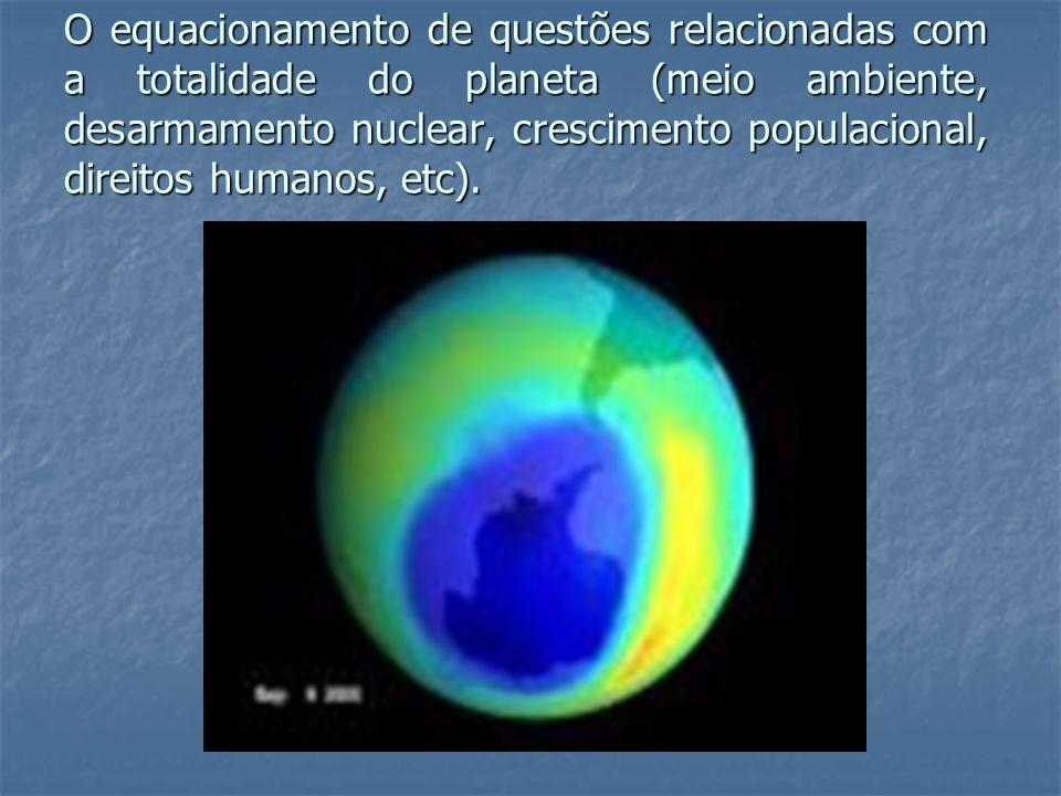 O equacionamento de questões relacionadas com a totalidade do planeta (meio ambiente, desarmamento nuclear, crescimento populacional, direitos humanos