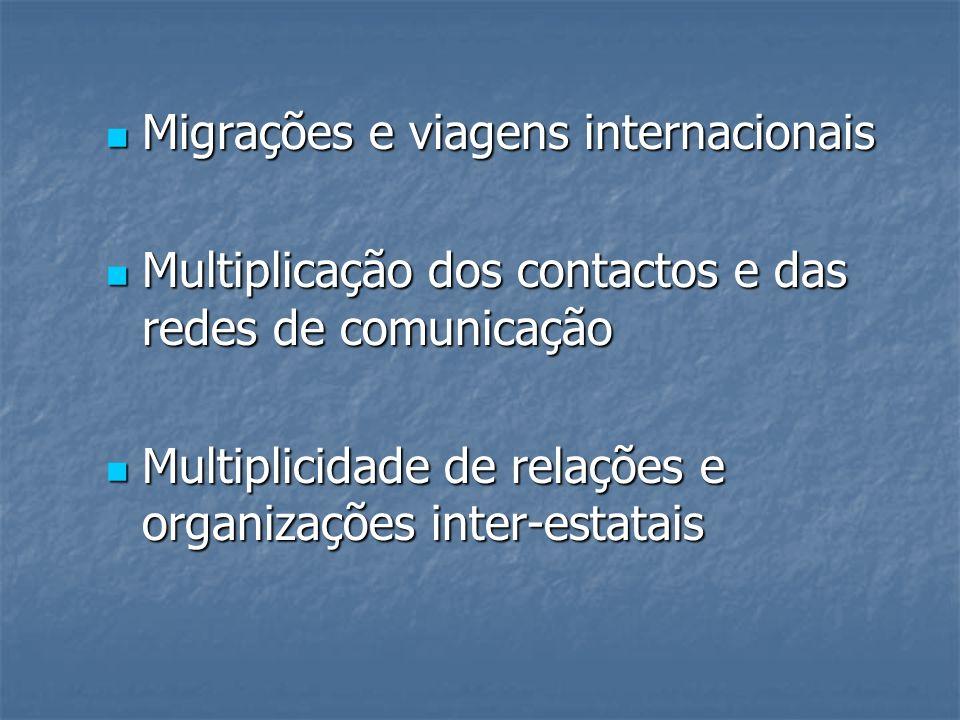 Migrações e viagens internacionais Migrações e viagens internacionais Multiplicação dos contactos e das redes de comunicação Multiplicação dos contact