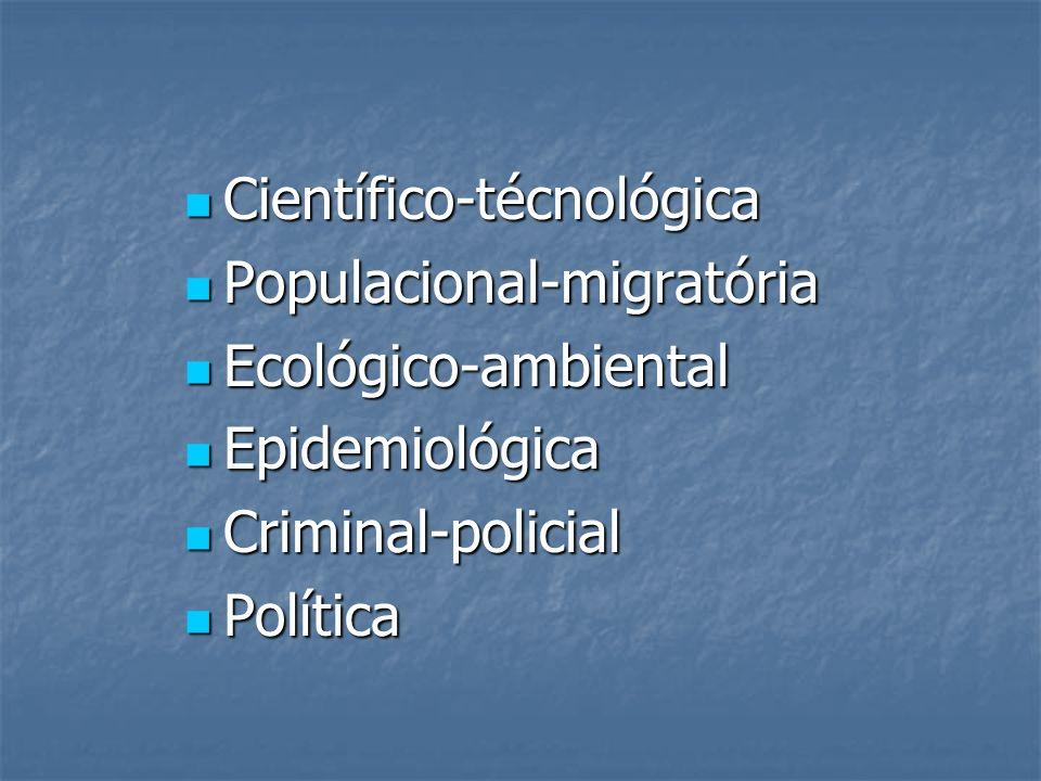 Científico-técnológica Científico-técnológica Populacional-migratória Populacional-migratória Ecológico-ambiental Ecológico-ambiental Epidemiológica E