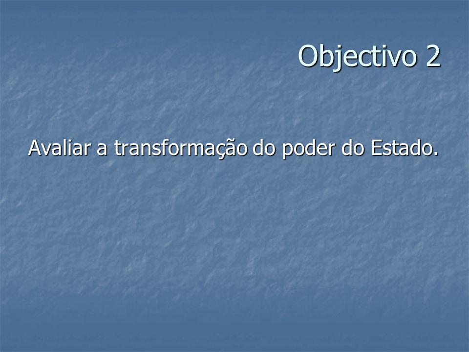 Objectivo 2 Avaliar a transformação do poder do Estado.