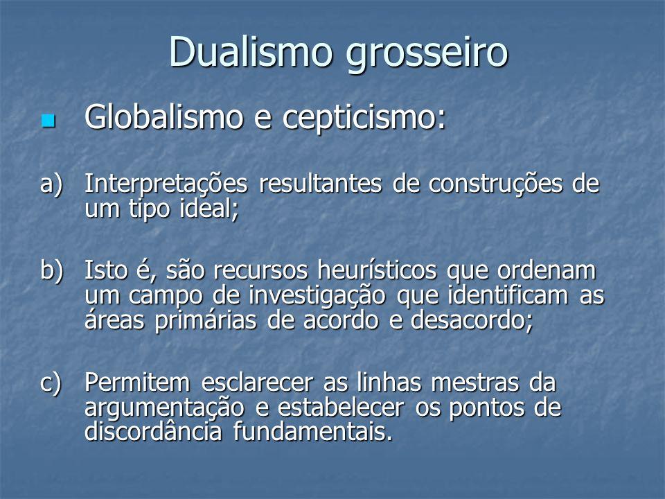 Dualismo grosseiro Globalismo e cepticismo: Globalismo e cepticismo: a) Interpretações resultantes de construções de um tipo ideal; b) Isto é, são rec