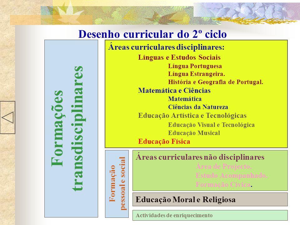 Desenho curricular do 2º ciclo Áreas curriculares disciplinares: Línguas e Estudos Sociais Língua Portuguesa Língua Estrangeira. História e Geografia