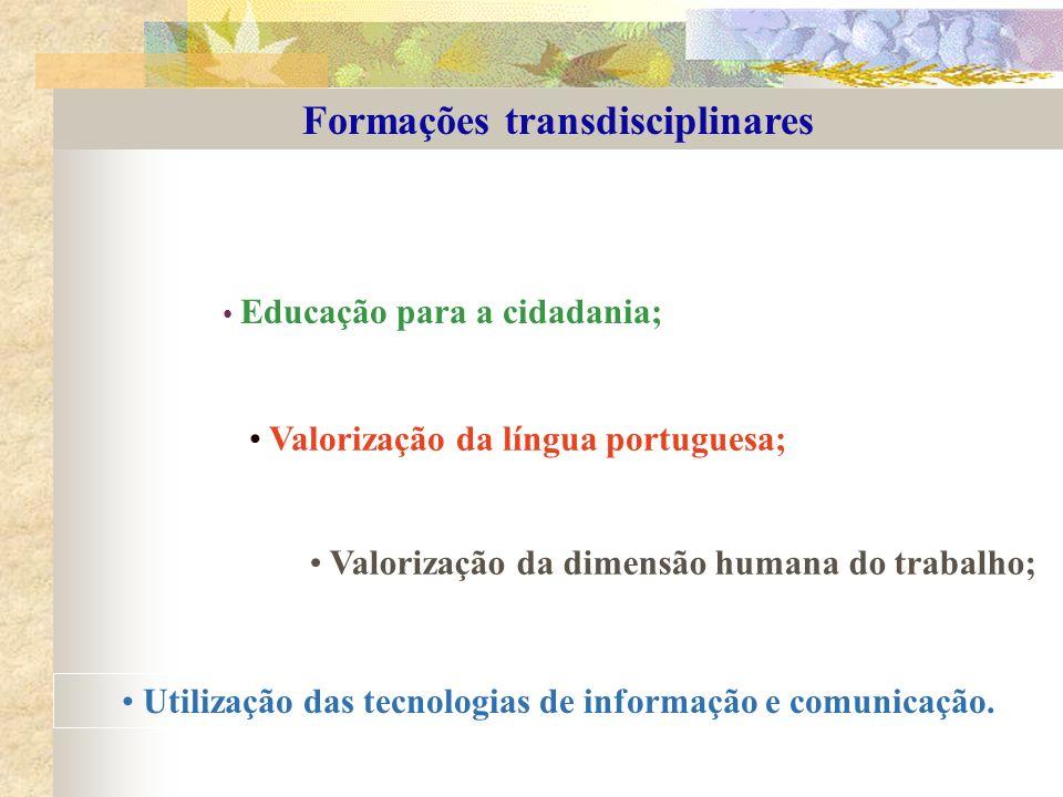 Formações transdisciplinares Educação para a cidadania; Valorização da língua portuguesa; Valorização da dimensão humana do trabalho; Utilização das t