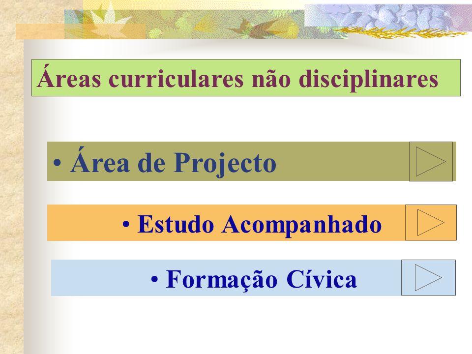 Áreas curriculares não disciplinares Área de Projecto Estudo Acompanhado Formação Cívica
