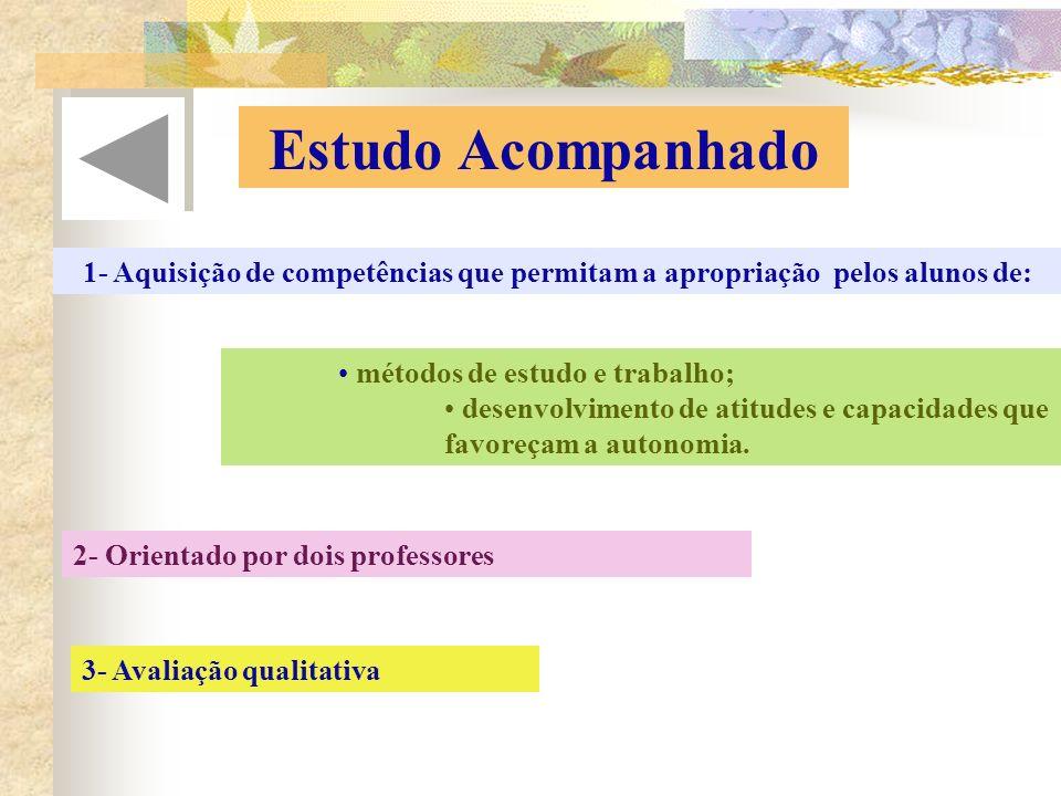 Estudo Acompanhado 1- Aquisição de competências que permitam a apropriação pelos alunos de: métodos de estudo e trabalho; desenvolvimento de atitudes