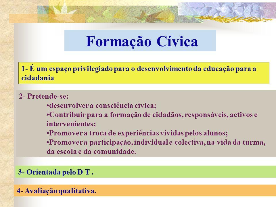 Formação Cívica 1- É um espaço privilegiado para o desenvolvimento da educação para a cidadania 2- Pretende-se: desenvolver a consciência cívica; Cont