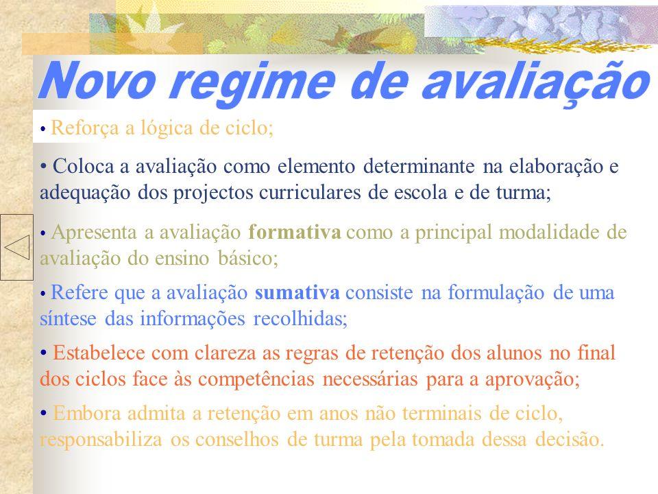 Reforça a lógica de ciclo; Apresenta a avaliação formativa como a principal modalidade de avaliação do ensino básico; Coloca a avaliação como elemento
