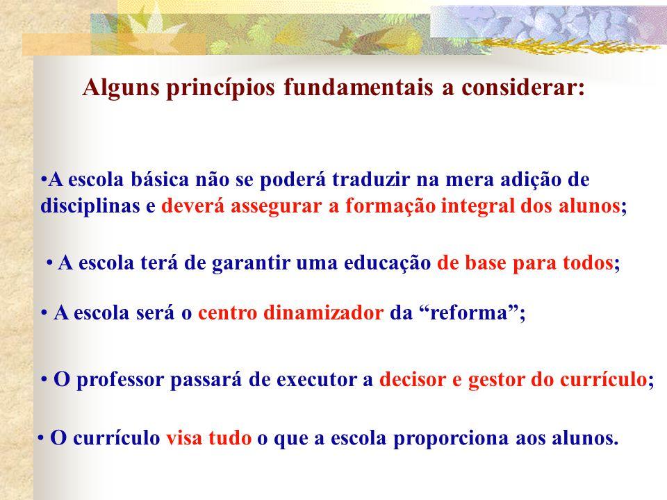 Alguns princípios fundamentais a considerar: A escola terá de garantir uma educação de base para todos; A escola básica não se poderá traduzir na mera