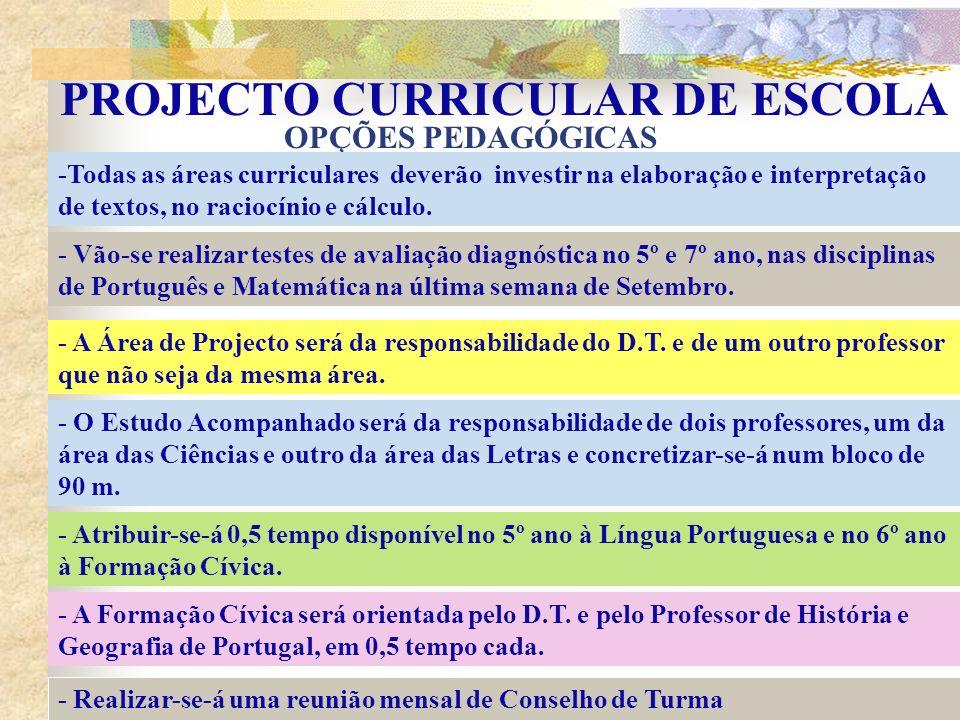PROJECTO CURRICULAR DE ESCOLA OPÇÕES PEDAGÓGICAS -Todas as áreas curriculares deverão investir na elaboração e interpretação de textos, no raciocínio e cálculo.