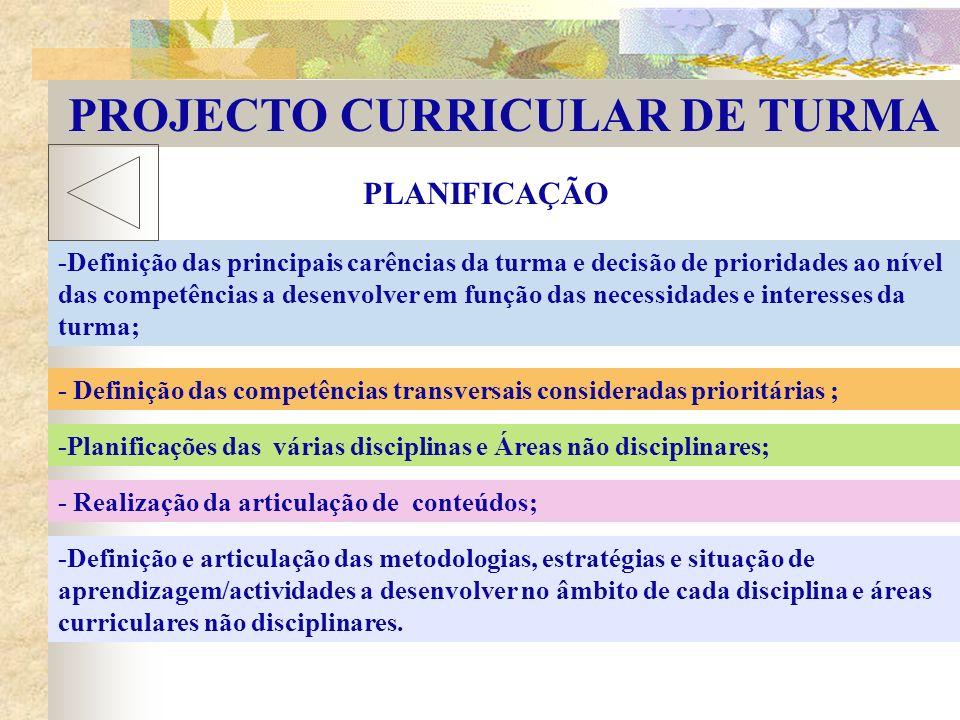 PROJECTO CURRICULAR DE TURMA PLANIFICAÇÃO - Definição das competências transversais consideradas prioritárias ; -Planificações das várias disciplinas